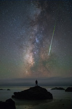comet and stars in the night sky, taking in God's creation