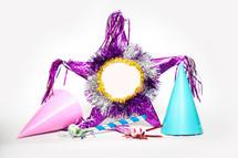 piñata and party hats