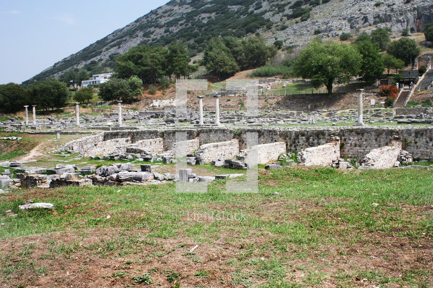 Shops at Philippi. These ruins from Ancient Philippi mark the shops at the Agora. One of these stalls may have belonged to Lydia the merchant who befriended the Apostle Paul in Acts 16 of the Bible.