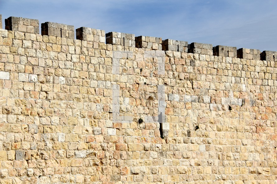 Jerusalem city wall. Limestone with castle edge.