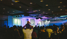 crowded worship service