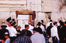 Jewish men gathered at the wailing wall in Jerusalem