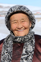 Mongolian christian old lady [For more like this search 'Ethnic Face']