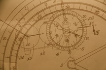 Blue print or design showing the detail of a wrist watch