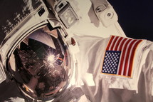 Astronaut's space suit with USA Flag