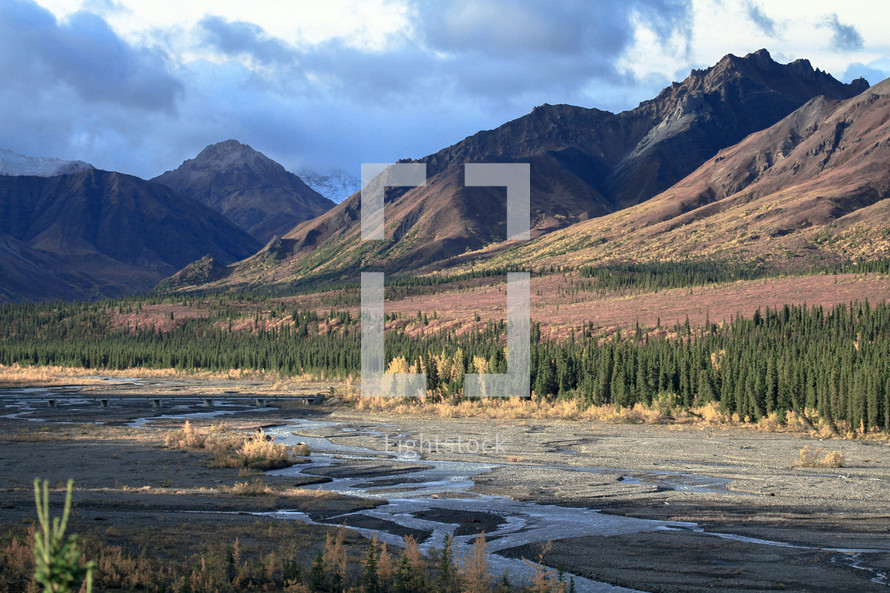 dry riverbed and mountain view