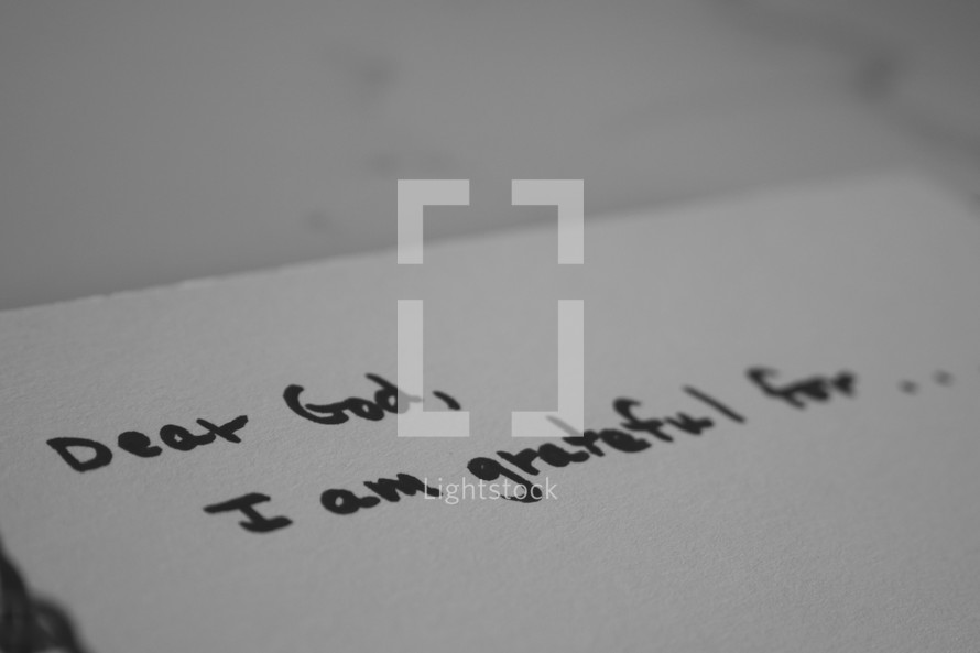Dear God, I am grateful for . . .