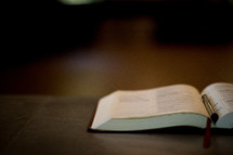 pen between the pages of a Bible