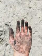 dirty sandy hand
