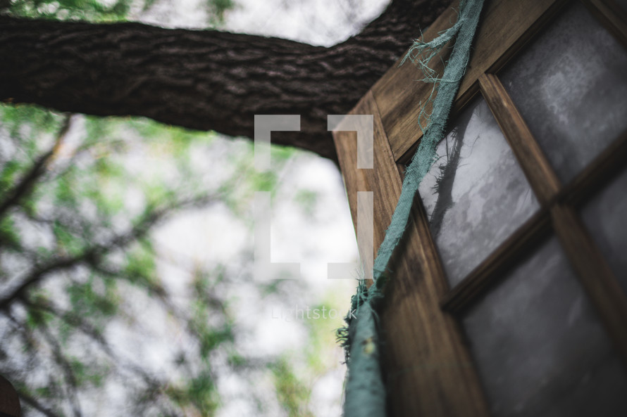 old door wrapped up and leaning against a tree