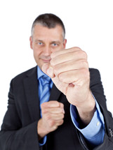 businessman with fists