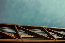 metal beams on a roof top