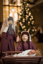 Christmas tree, figurines, Mary, Joseph, Baby Jesus, Christmas, church