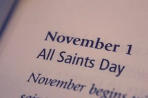 November 1 All Saints Day