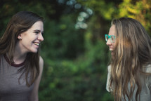 teen girls talking and laughing
