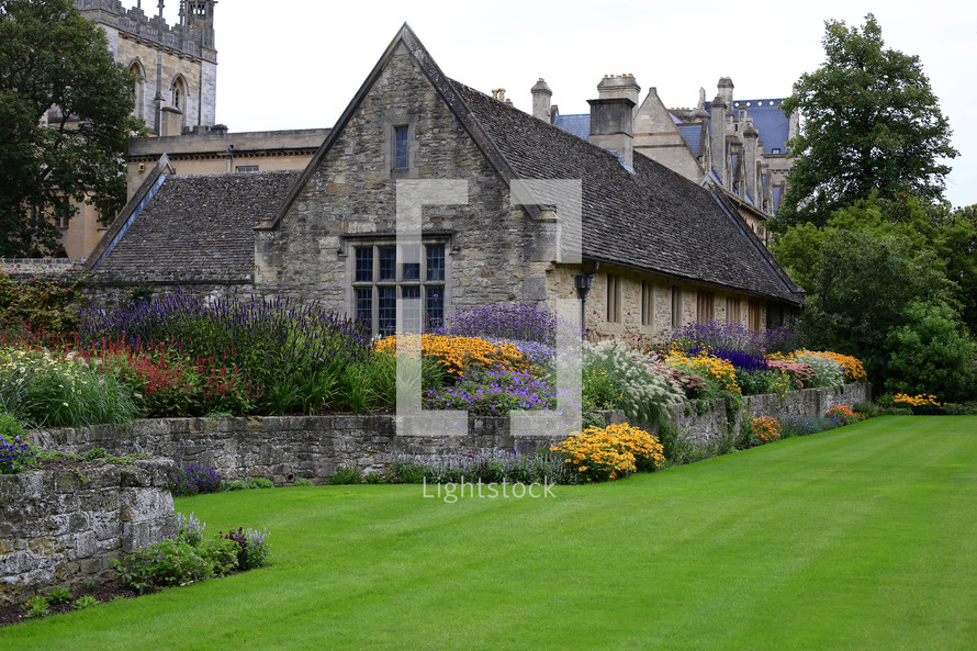 floral garden surrounding a stone house in Oxford