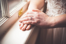 engagement ring on the hand of a bride