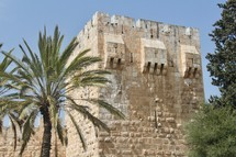 Part of the ancient walls of Jerusalem. Tower of Phasael.