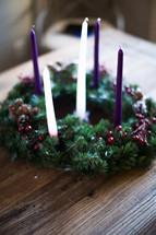 Advent wreath on a wood table
