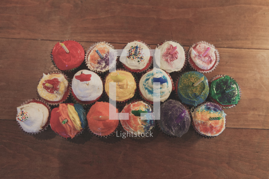 Colorful cupcakes for a birthday party