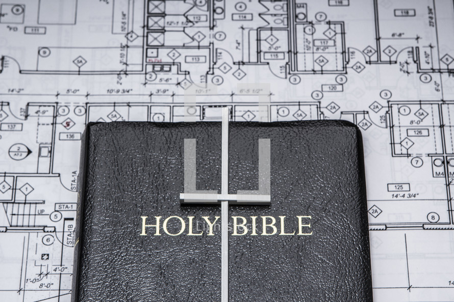 blueprints, cross, Bible