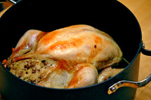Holiday dinner:  roast chicken with savory pork and sage dressing still in the roasting pan.