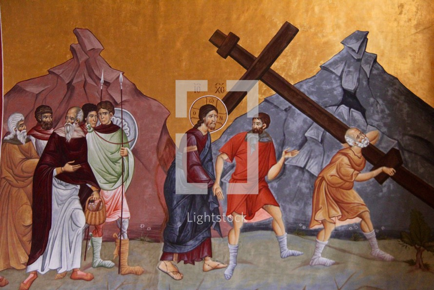 Painting of Jesus being led to the crucification, Podgorica Orthodox Cathedral, Montenegro.
