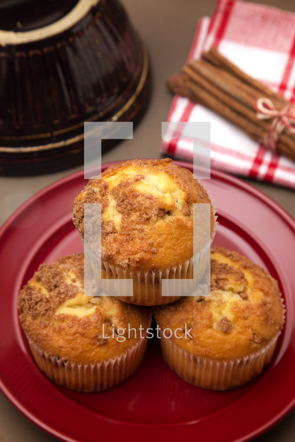 Brown Sugar and Cinnamon Muffins on a Kitchen Counter