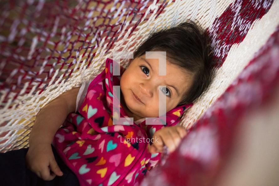 toddler in a hammock
