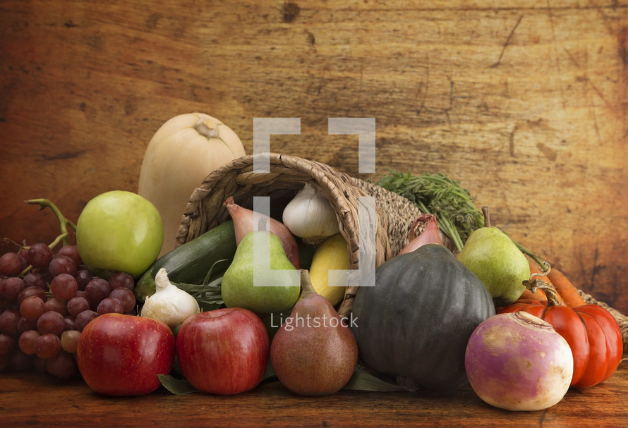 Cornucopia Filled with Fresh Fruits and Vegetables