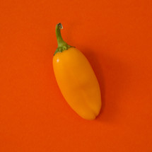 orange pepper on red