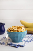 Breakfast Cereal and Bananas in a Blue Bowl