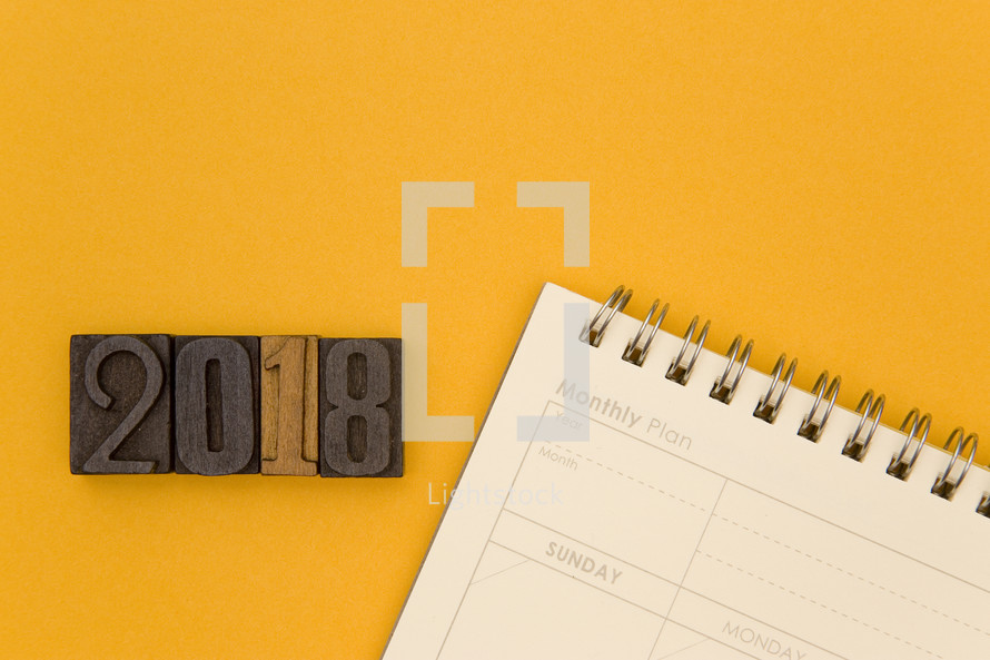 wood stamps 2018 and a calendar