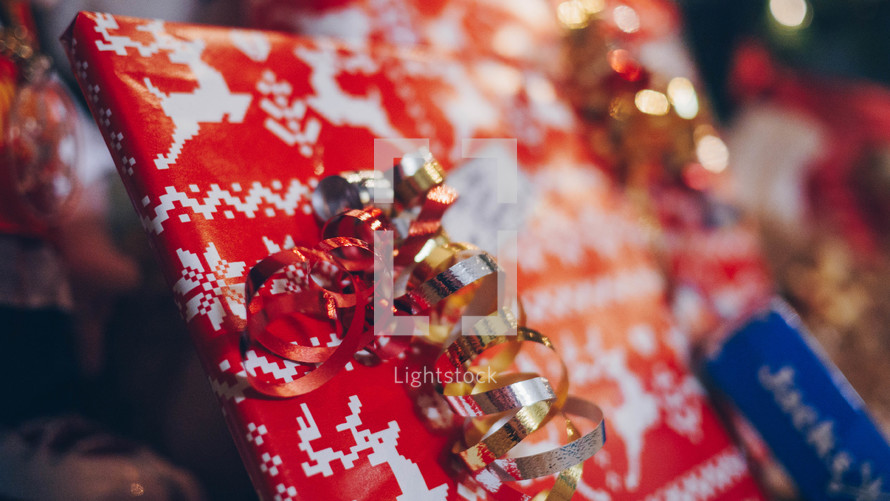 ribbon on a wrapped gift