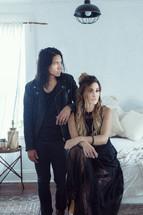 models posing in a bedroom