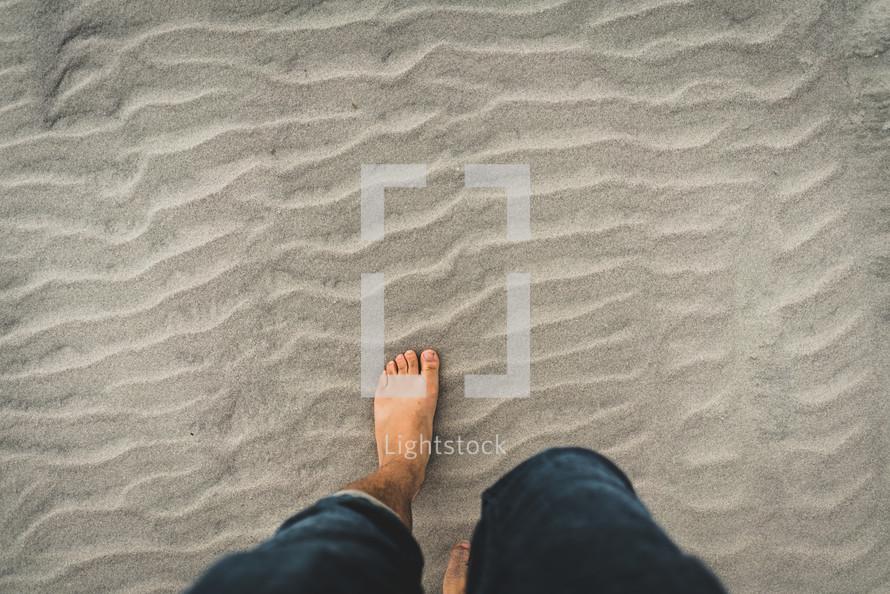 walking in sand