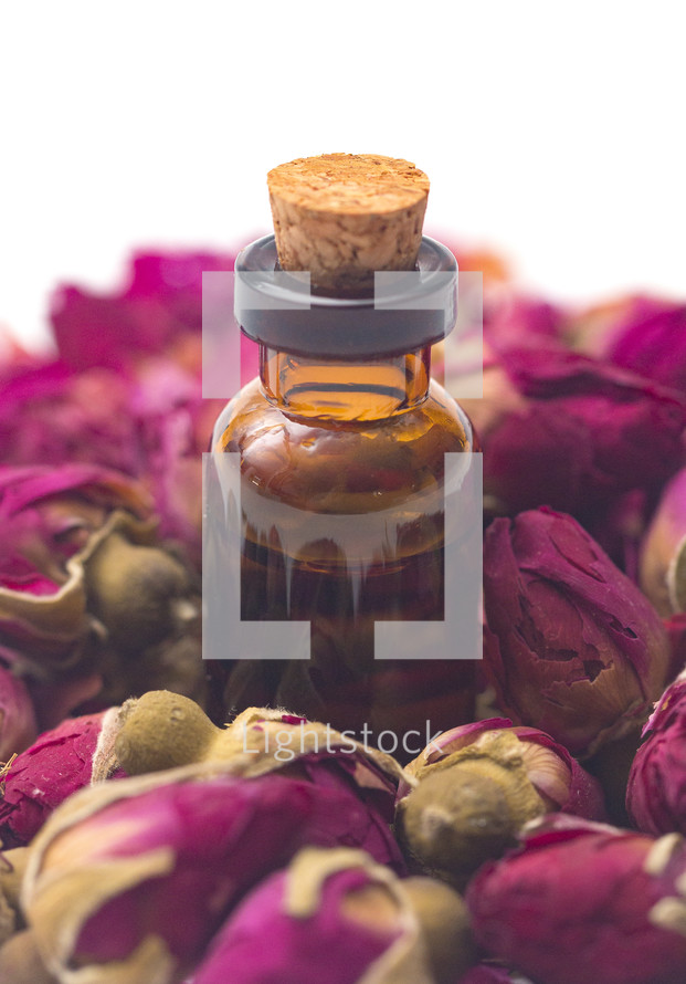 Rose Essential Oil in a Rustic Corked Bottle