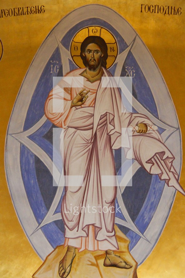 Painting of the risen Christ, Podgorica Orthodox Cathedral, Montenegro.