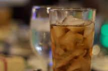 A cold glass of iced tea at a banquet event dinner.