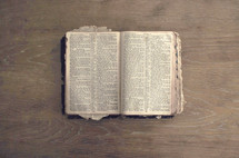 worn pages of an old Bible