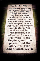 Headstone with The Lord's Prayer.