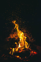 sparks and flames from a campfire at night