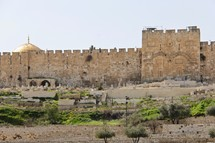 The Walls around the Old City of Jerusalem, Golden Gate and Dome of the Rock
