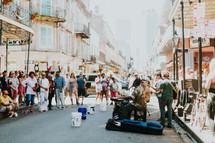 street musicians entertaining a crowd