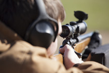 looking through a scope on a rifle