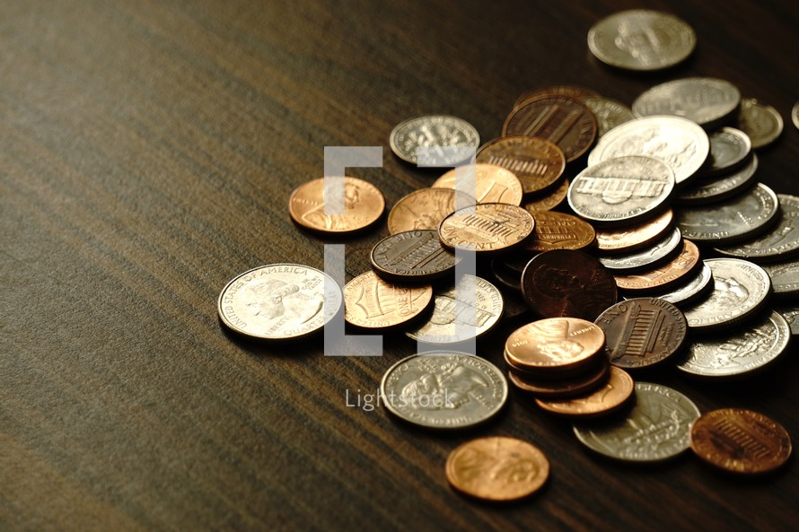 loose change on a table