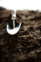 a shovel in potting soil