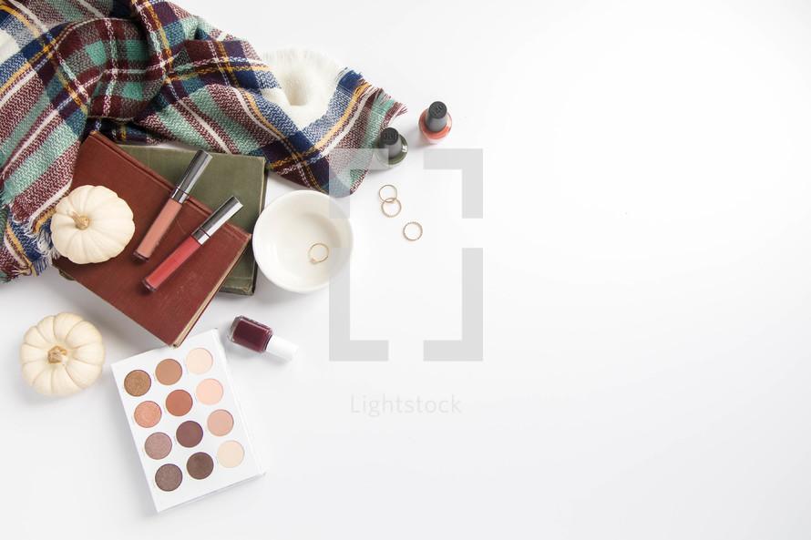 plaid shawl and makeup