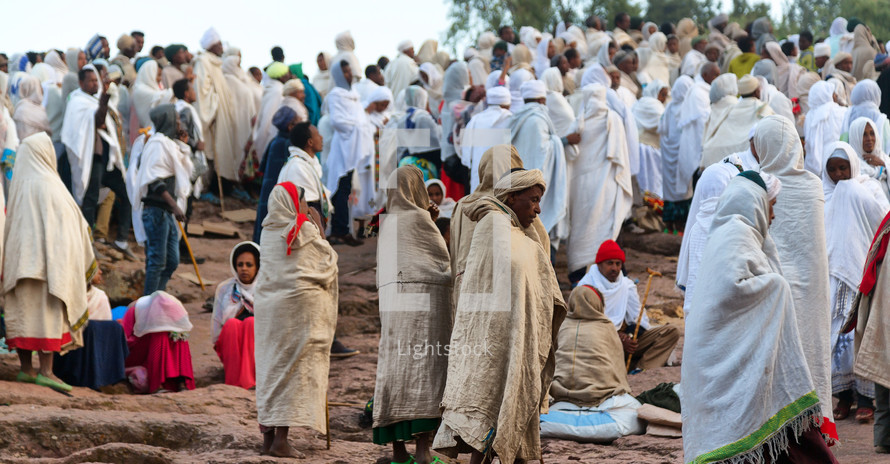 crowds at a celebration in Ethiopia