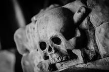 skull carved in stone